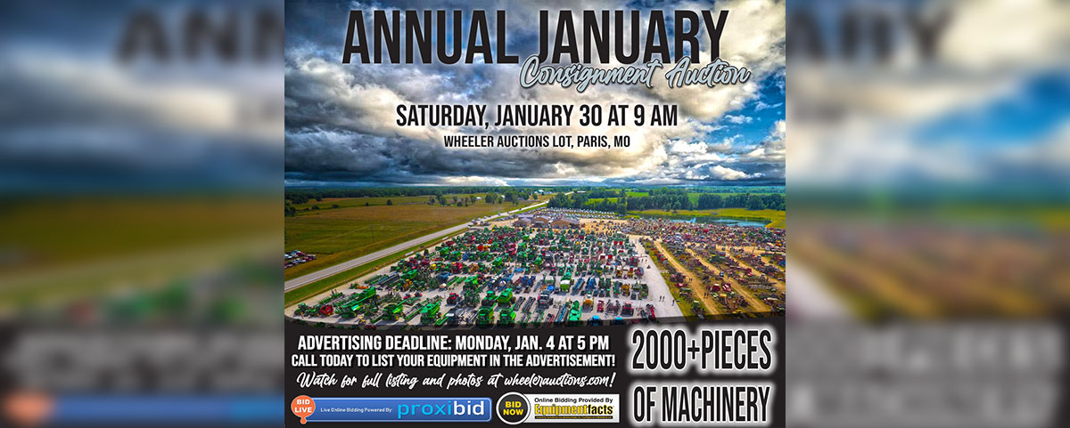 Annual January Consignment Auction   Saturday, January 30th, 2021 at 9 AM
